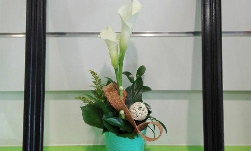 composition floral nature blanc vert