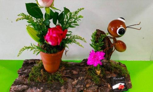 composition floral sur écorsse